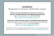 Svarbi informacija Radviliškio rajono gyventojams karantino metu!